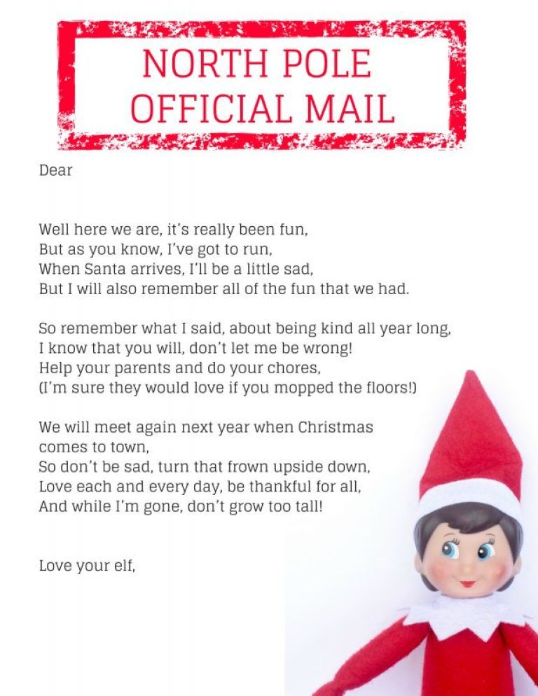 Zany image throughout elf on the shelf goodbye letter printable