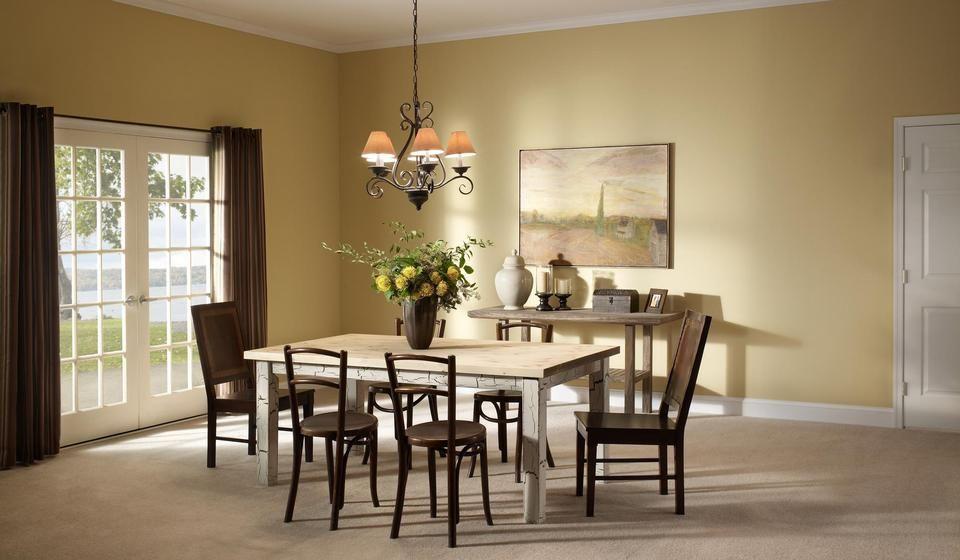 Subtle Dining Room Yellow Walls Brown Curtains Neutral Glamorous Eldorado Dining Room Design Ideas