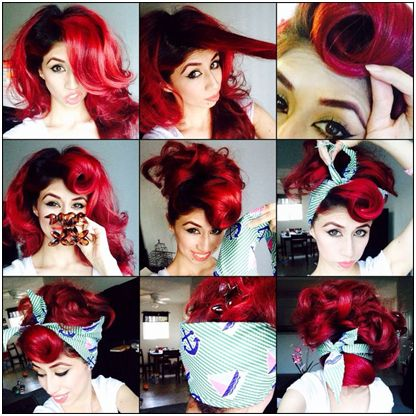 Wondrous Rockability Roll Pin Up Red Halloween Red Hair Tutorial Hairstyle Inspiration Daily Dogsangcom