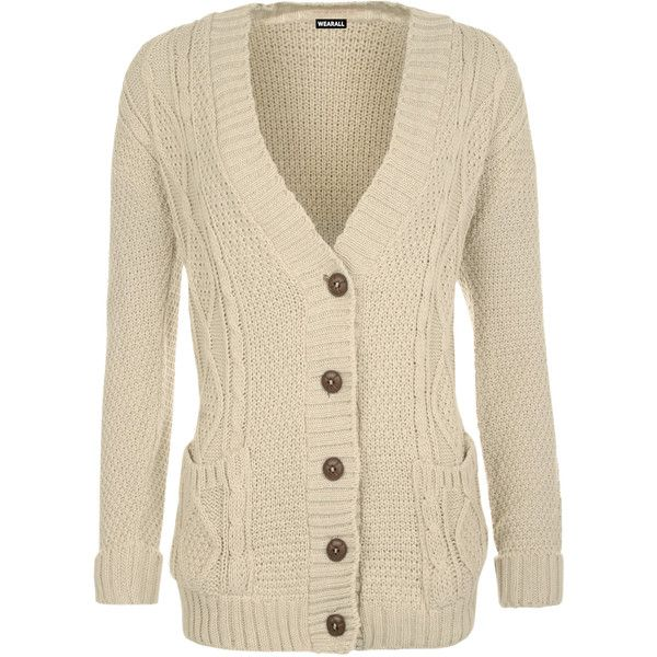 WearAll Cable Knit Boyfriend Cardigan Stone (76 BRL) ❤ liked on ...