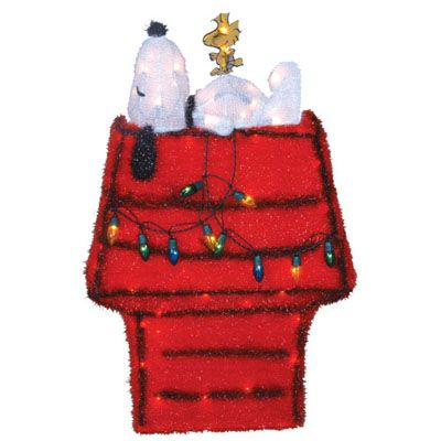christmas decorations 32 3d lighted soft tinsel snoopy on doghouse by product works - American Sales Christmas Decorations