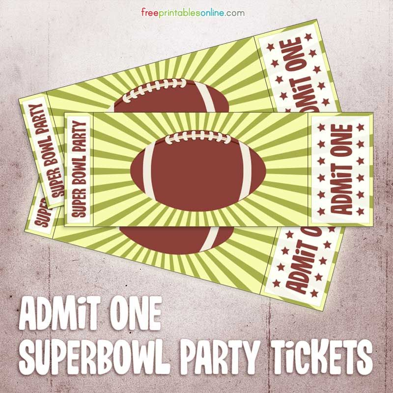 Printable Admit One Super Bowl Party Ticket Fundraising - Printable Event Tickets