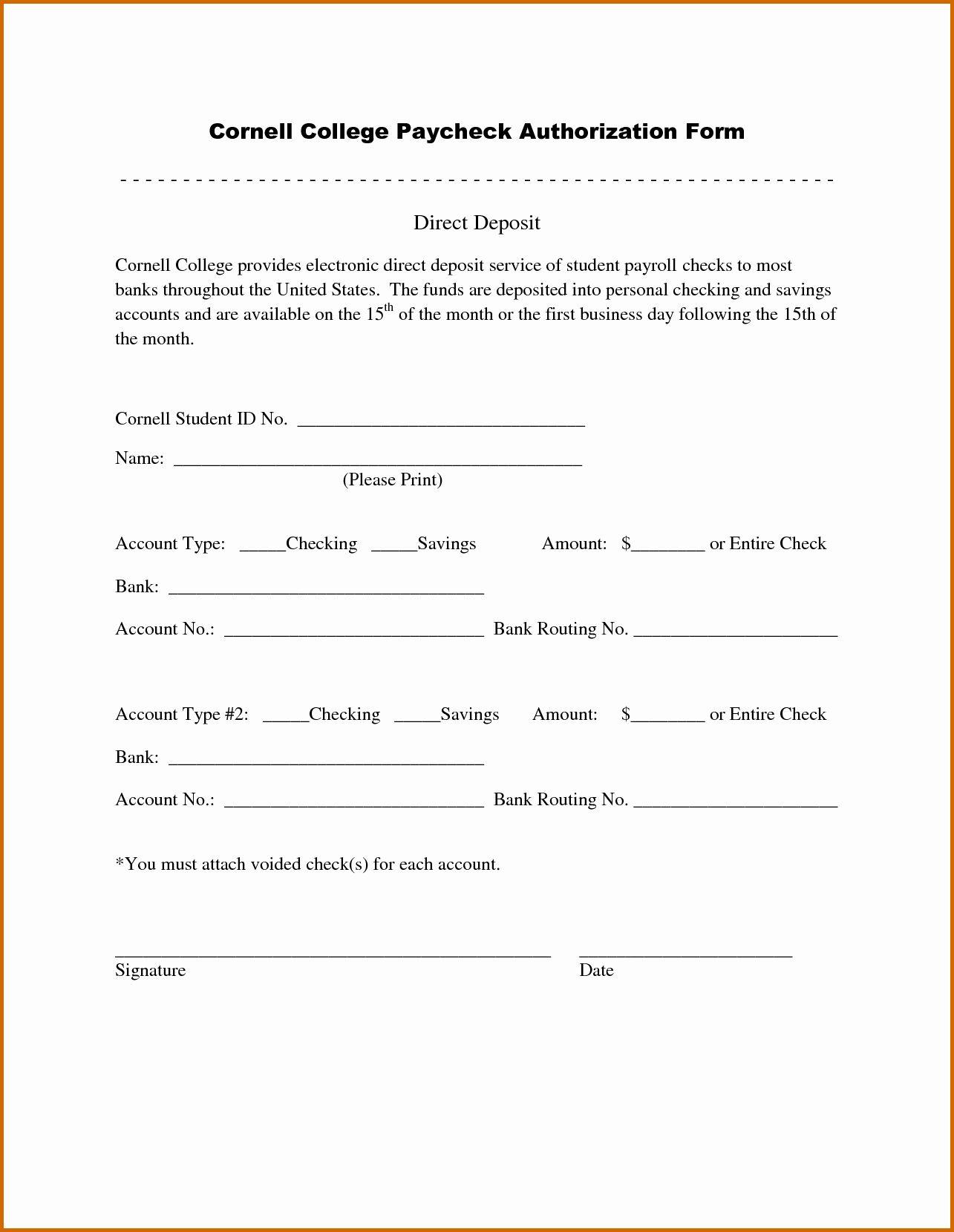 Direct Deposit Authorization Form Template Elegant 12 Sample