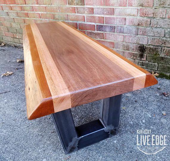 Live Edge Mahogany Coffee Table Live Edge Bench Steel Legs Tafel