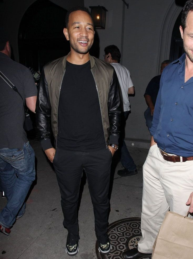 John Legend sports Dsquared2 Bomber Jacket and Givenchy Tyson floral-print sneakers in West Hollywood #johnlegend #dsquared2 #bomberjacket #bomber #jacket #givenchy #tysonsneakers #sneakers #hollywood