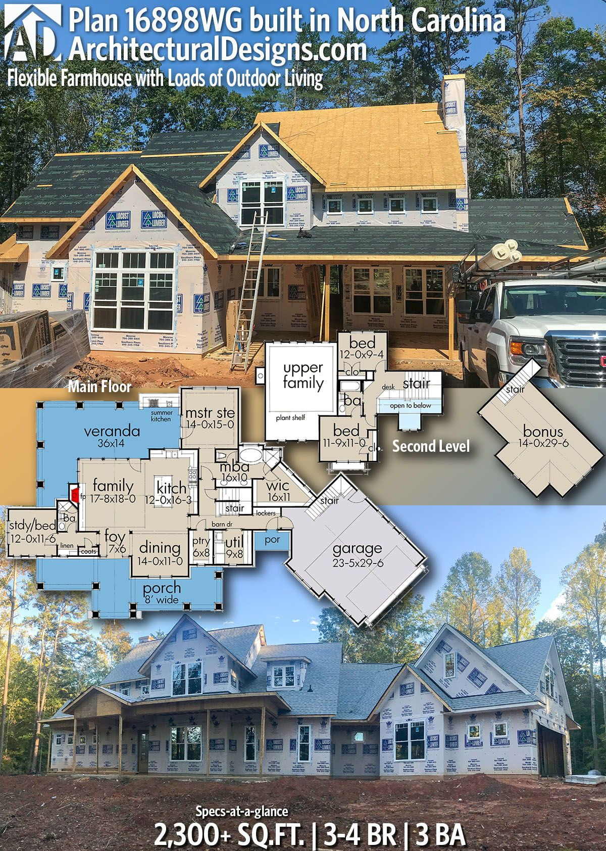 Architectural designs modern farmhouse plan wg is coming to life in north carolina this home gives you over square feet of heated living also rh pinterest