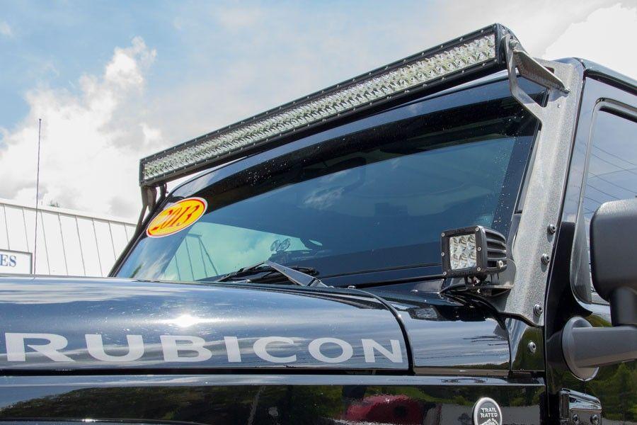 2013 black jeep wrangler unlimited rubicon rigid 50 light bar rigid dually d2 6 bulb windshield mounted led aloadofball Image collections