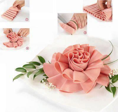 937a557d06de Lovely cold cut flower ~ attractive way to display deli cold meats ...