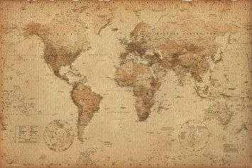 Amazon Com Antique Style World Map Poster Size 36 X 24 Poster Print 36x24 Antique World Map Framed World Map World Map Poster