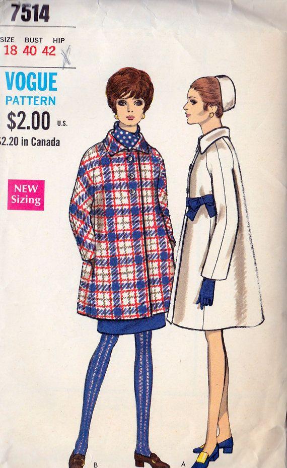 1960+Misses+Full+Coat+Vintage+Sewing+Pattern+by+MissBettysAttic,+$ ...