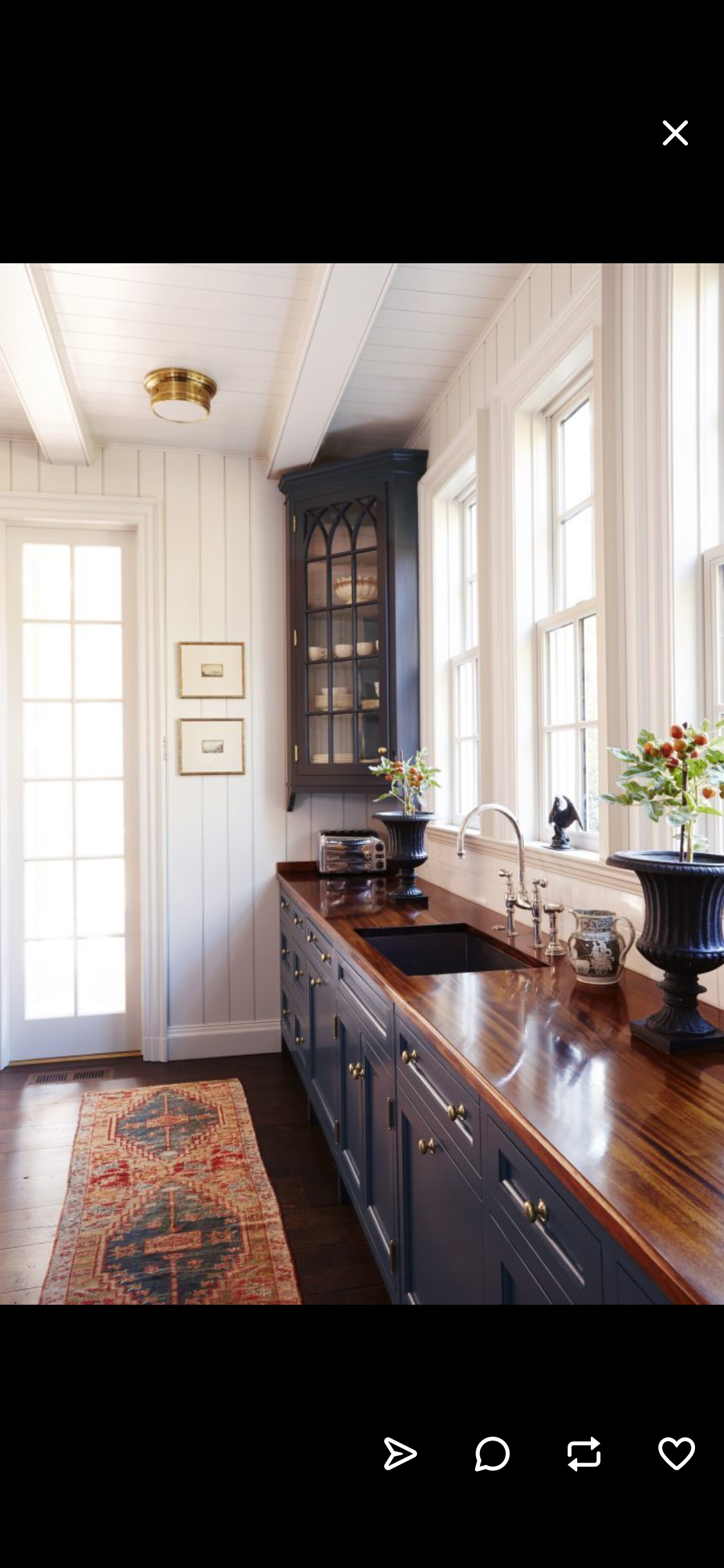 I Love The Corner Cabinet Dark Cabinets With Wood Counter Tops And White Walls Kitchen Remodel Kitchen Inspirations Kitchen Design