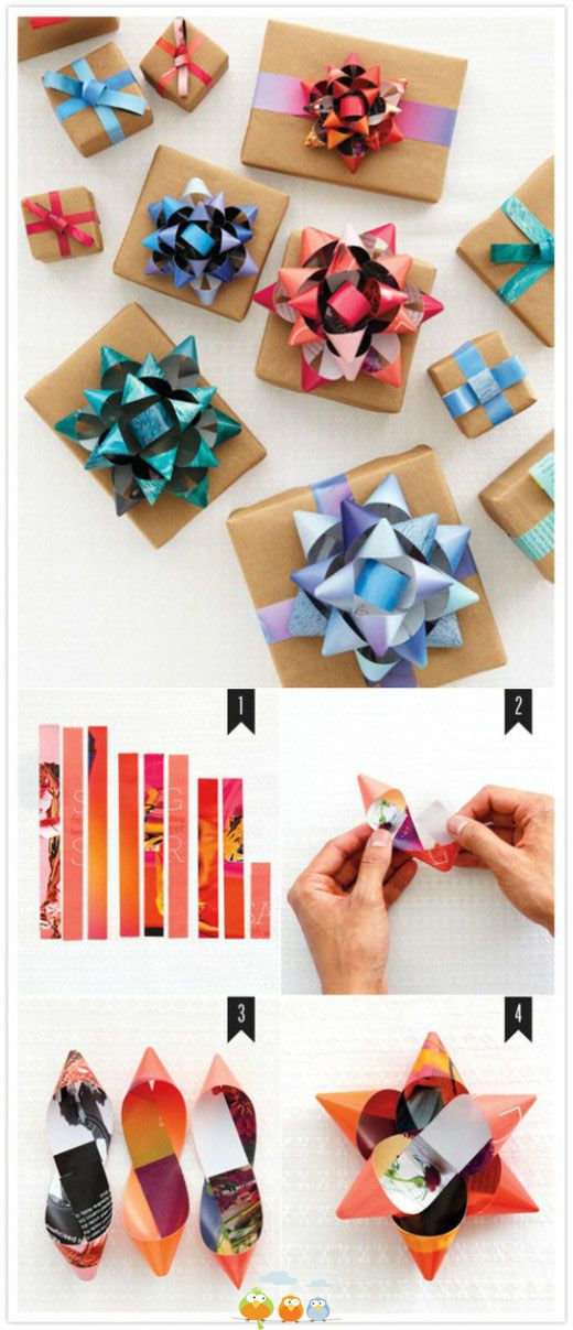 Diy gift bows from magazine paper create pinterest gift bow diy gift bows from magazine paper solutioingenieria Images