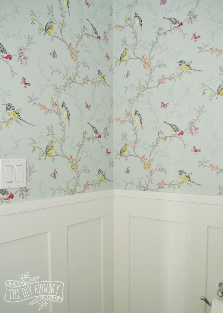 A Diy Powder Room Makeover With Chinoiserie Inspired Bird Floral Wallpaper And Board And Batten Trim