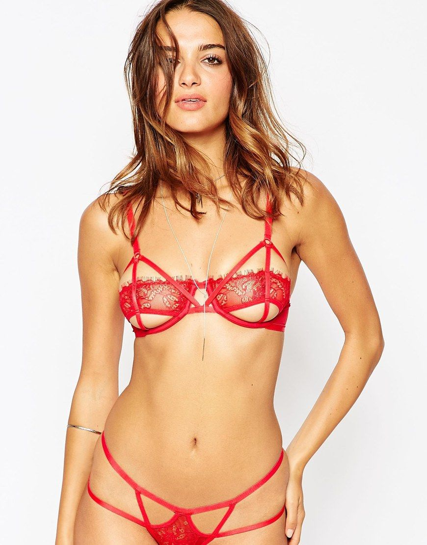 Asos Lace Risky Business Underwire Set In Red I Want