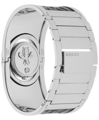 33313f1f8d6 Gucci Women s Swiss Twirl Stainless Steel and Black Leather Bangle Bracelet  Watch 24mm YA112441 - Silver