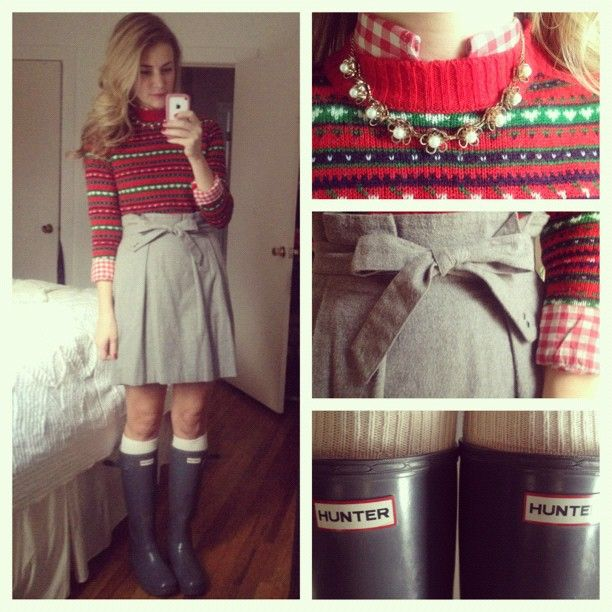 Fair Isle Sweater, Gingham Button Up, Skirt with bow detail, and ...