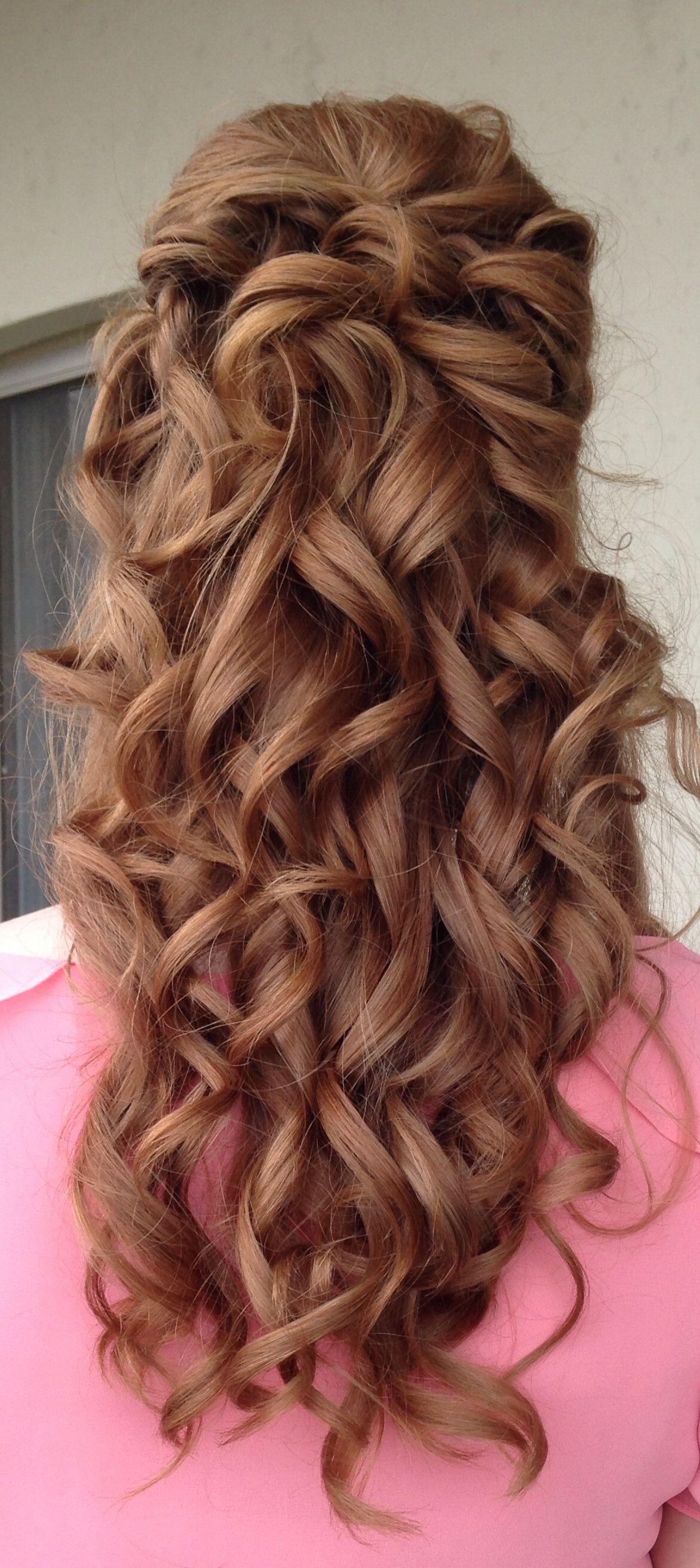 bridalshower bridal shower updo curls half-up updo upstyle bride