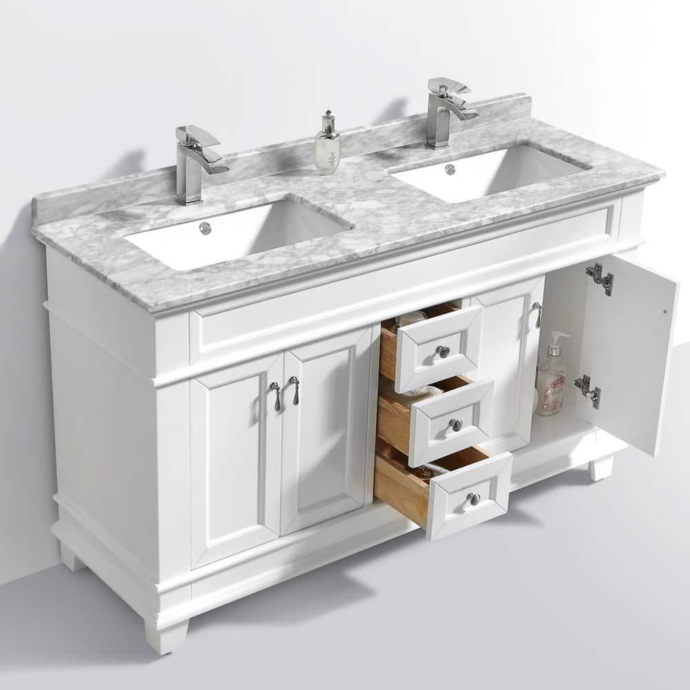 Moreno Bath Fayer 60 Inch Free Standing Double Sink White Bathroom