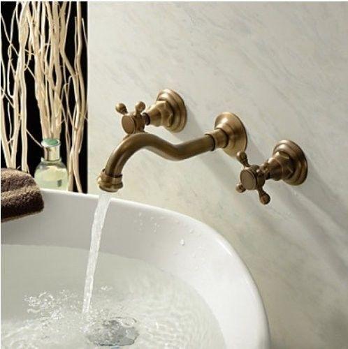 Wall Mounted Widespread Basin Mixer Tap Antique Brass Sink Faucet Wall Mount Faucet Bathroom Sink Faucets Brass Sink