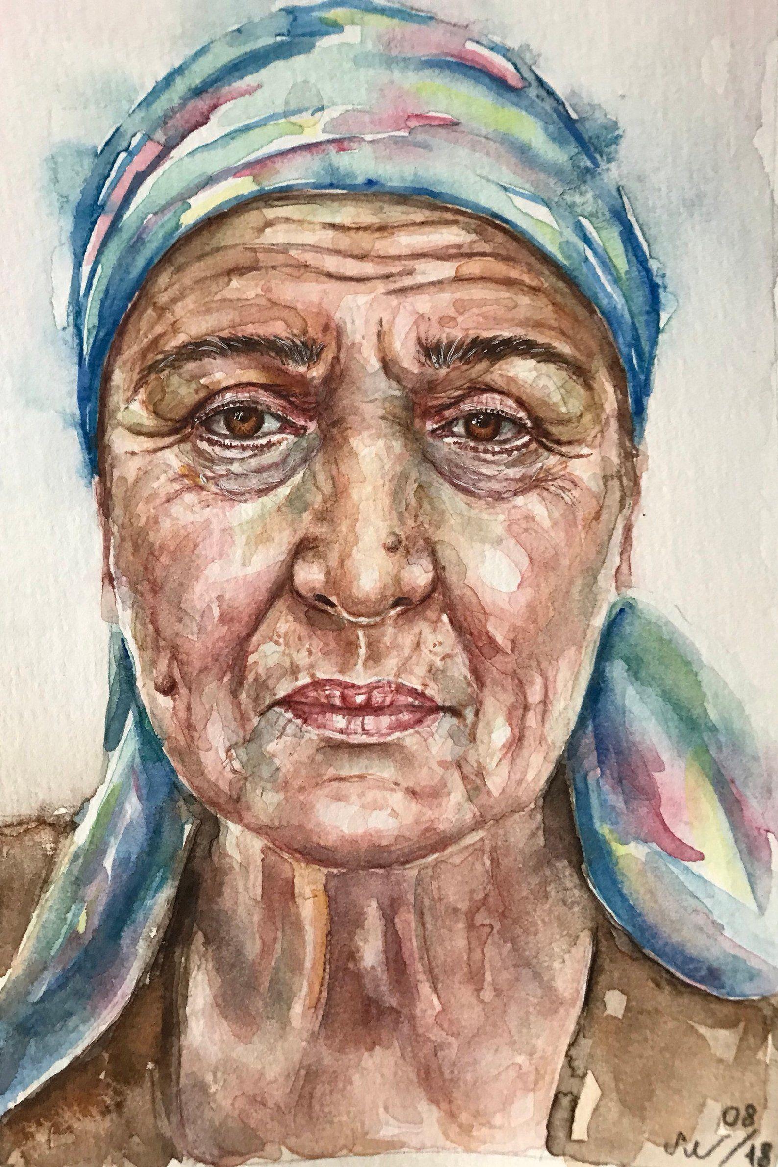 Old Woman Watercolor Portraitpeople Artwatercolor Etsy Watercolor Portrait Painting People Art Watercolor Portraits
