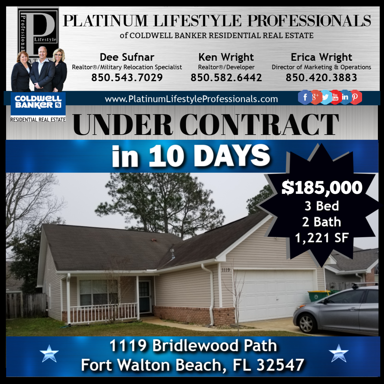 Under Contract In 10 Days With Multiple Offers 3 Bed 2 Bath Home In Fort Walton Beach With Images Fort Walton Beach Commercial Rental Property Residential Real Estate