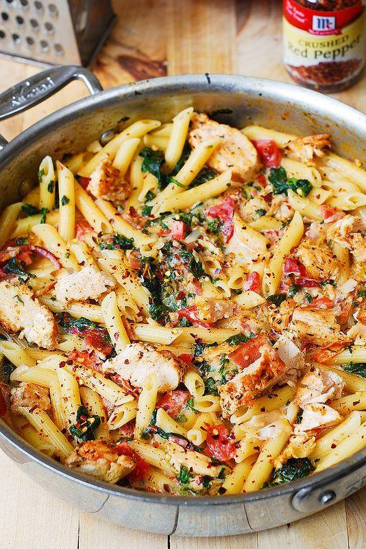 Spinach tomato mozzarella pasta recipe