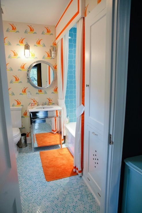Suzie peppermint bliss adorable boy 39 s bathroom with for Blue and orange bathroom