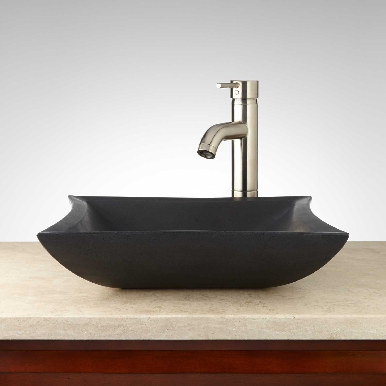 Mauna Lava Stone Square Vessel Sink Vessel Sinks Bathroom
