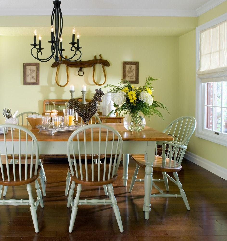 Beau Captivating Country Dining Room Design Pictures : Appealing Pale Green  Asian Country Dining Room With Rectangular White Brown Table And Chairs  Also Awesome ...