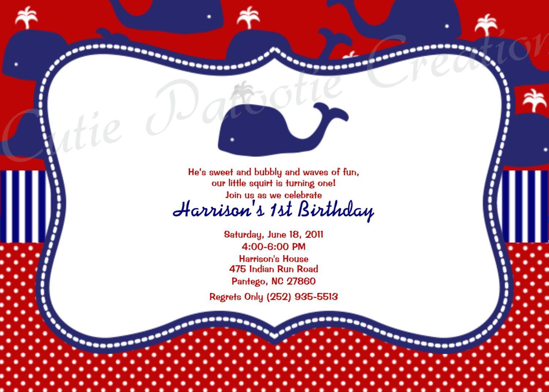 Preppy Whale Birthday Party Invitation Nautical Printable-Digital ...