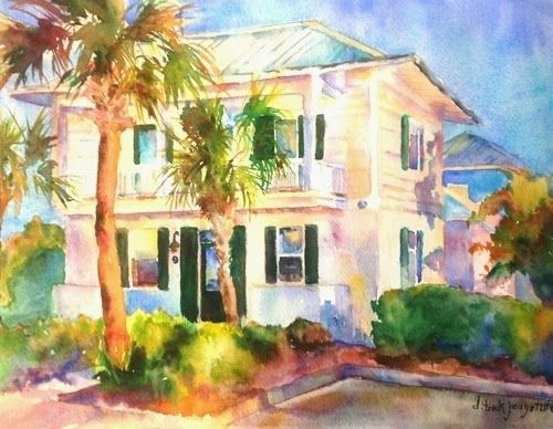 Watercolor Paintings Of Beach Houses Landscape Artists