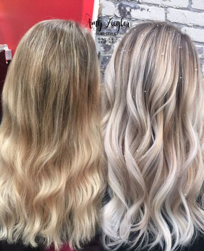 avant apres before after transformation snow white blonde platinum balayage ombre by amy z. Black Bedroom Furniture Sets. Home Design Ideas