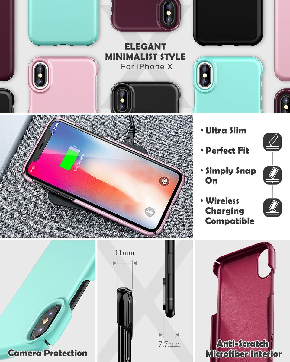 promo code f2ce1 eac7a Amazon.com: iPhone X Case, ELV iPhone X 10 Slim Premium Hard PC Snap ...