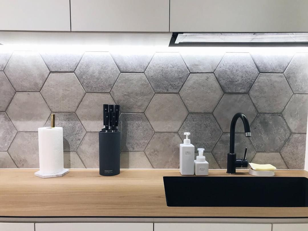 "- Lemonfridge Studio On Instagram: ""A White Kitchen With Hexagon"