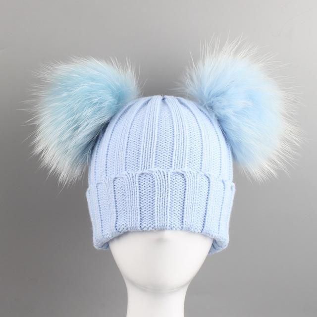 1466f9688c55c3 Winter Baby Knit Hat With Two Fur Pompoms Boy Girls Natural Fur Ball Beanie  Kids Cap Double color Real Fur ball Hat for Children