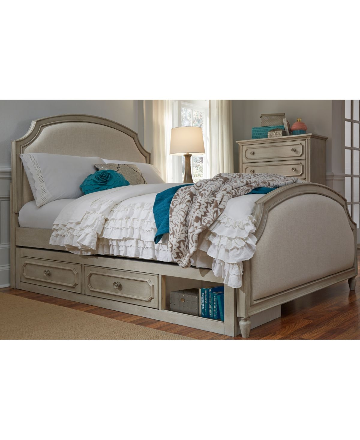 Emma Kids Bedroom Furniture Twin Upholstered Panel Bed With Under