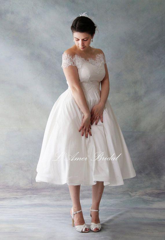 Vintage Stil Tee Länge Spitze Hochzeit Kleid in einer A-Form ...