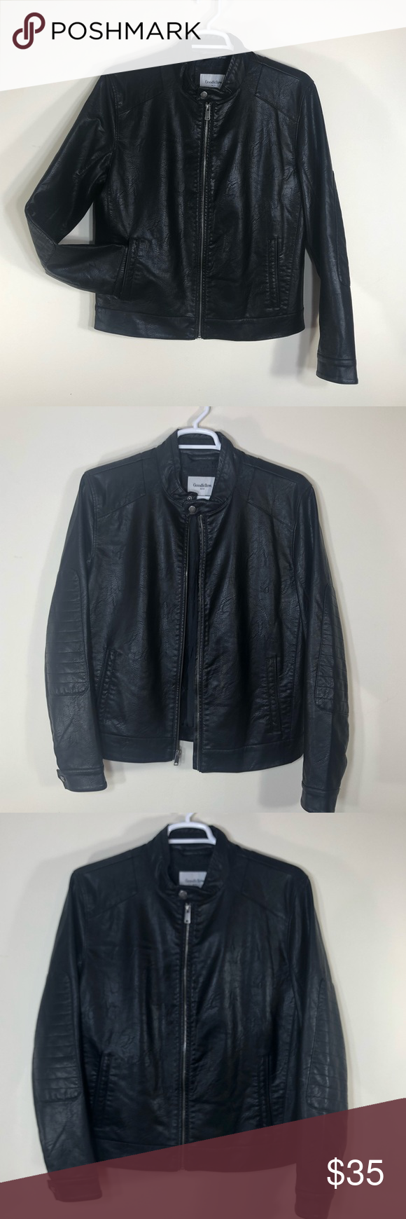 Goodfellow Black Leather Jacket Faux Leather Black Faux Leather Jacket Leather Jacket Leather Jacket Black [ png ]