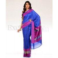 #Exclusively.in, #Indian Ethnic wear, Ultramarine Sari with Magenta Borders