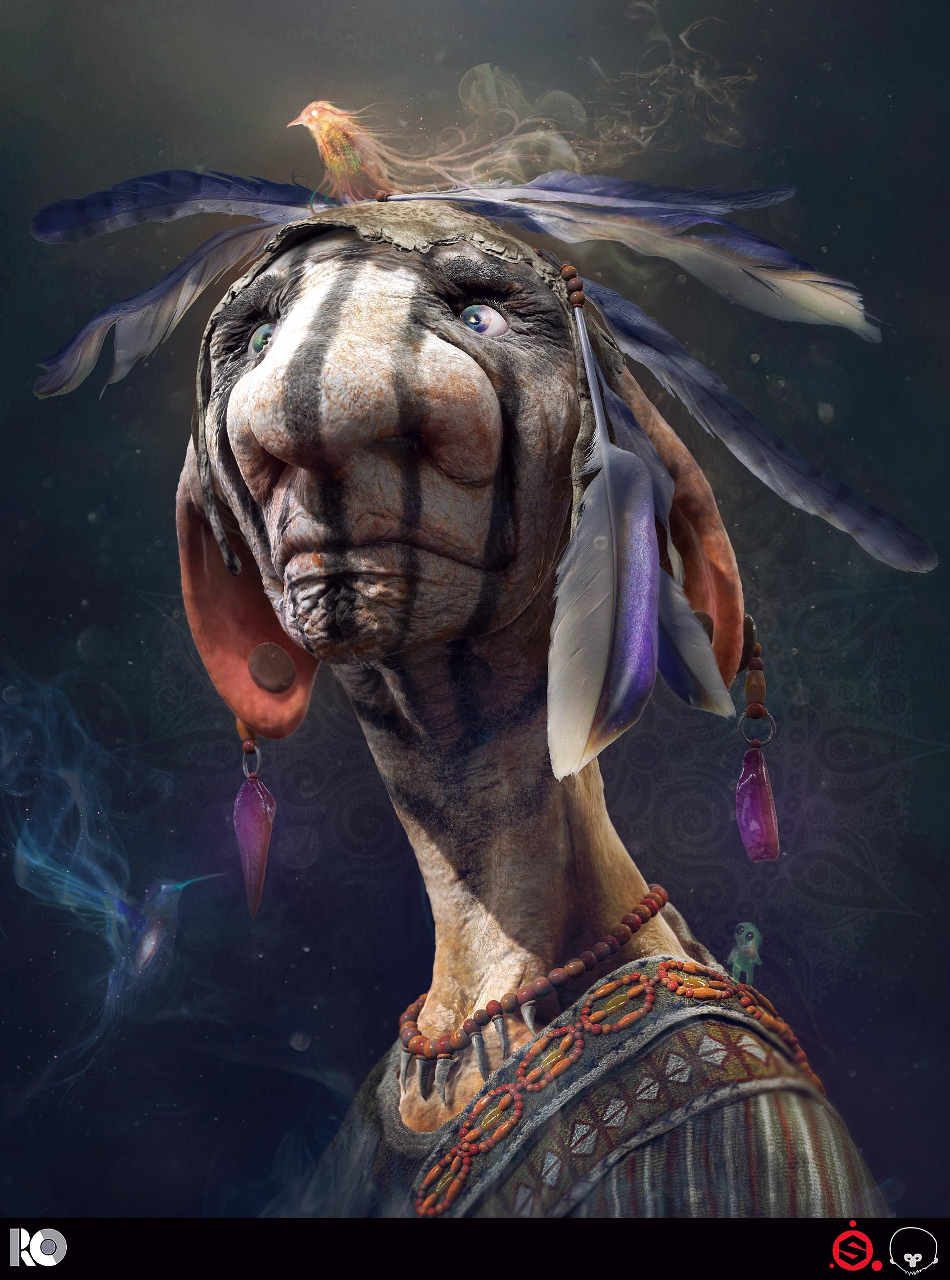 BY Rogelio Olguin......Shaman..... Done with Zbrush, Substance Painter,Maya.......Click on image to *Super-size*