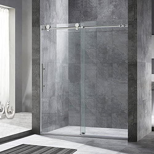 WOODBRIDGE Frameless Sliding Shower Door, 44 -48 Width, 76 Height, 3 8 10 mm Clear Tempered Glass, Chrome Finish, Designed for Smooth Door Closing and Opening. MBSDC4876-C