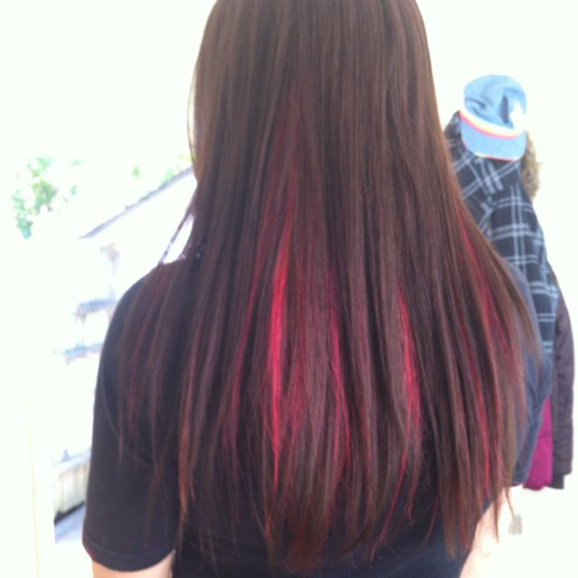 Dark Hair With Red Highlights Color Story Pinterest Of 22