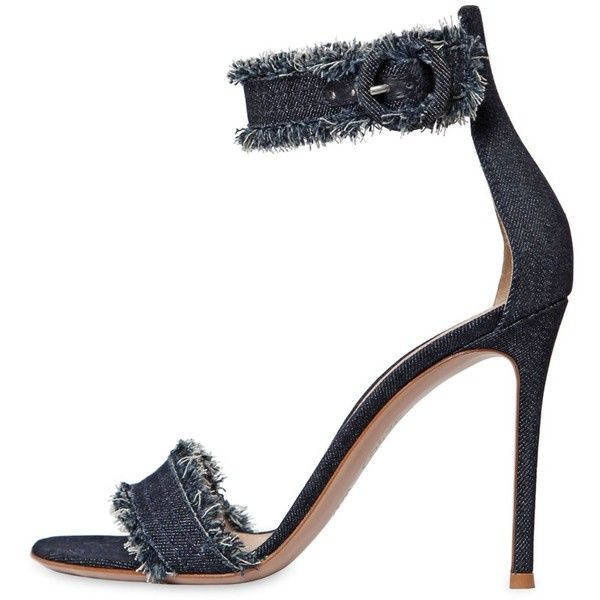 Gianvito Rossi Women 100mm Cotton Denim Sandals Womens Fashion Shoes Blue High Heel Shoes Leather Sole Sandals