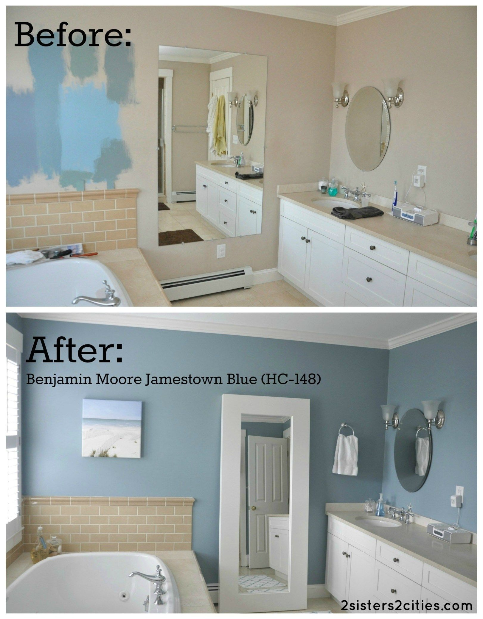 master bathroom paint color reveal in 2020 blue bathroom on blue paint bathroom ideas exterior id=86203