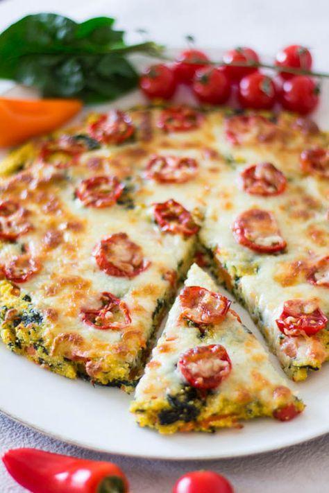 Polenta-Pizza mit Tomaten und Spinat - ein schnelles Rezept für Kinder