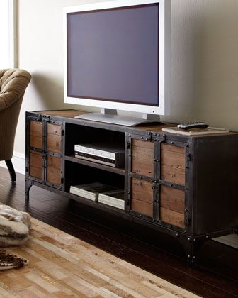Industrial Entertainment Chest Industrial Tv Stand Home Industrial Media Console