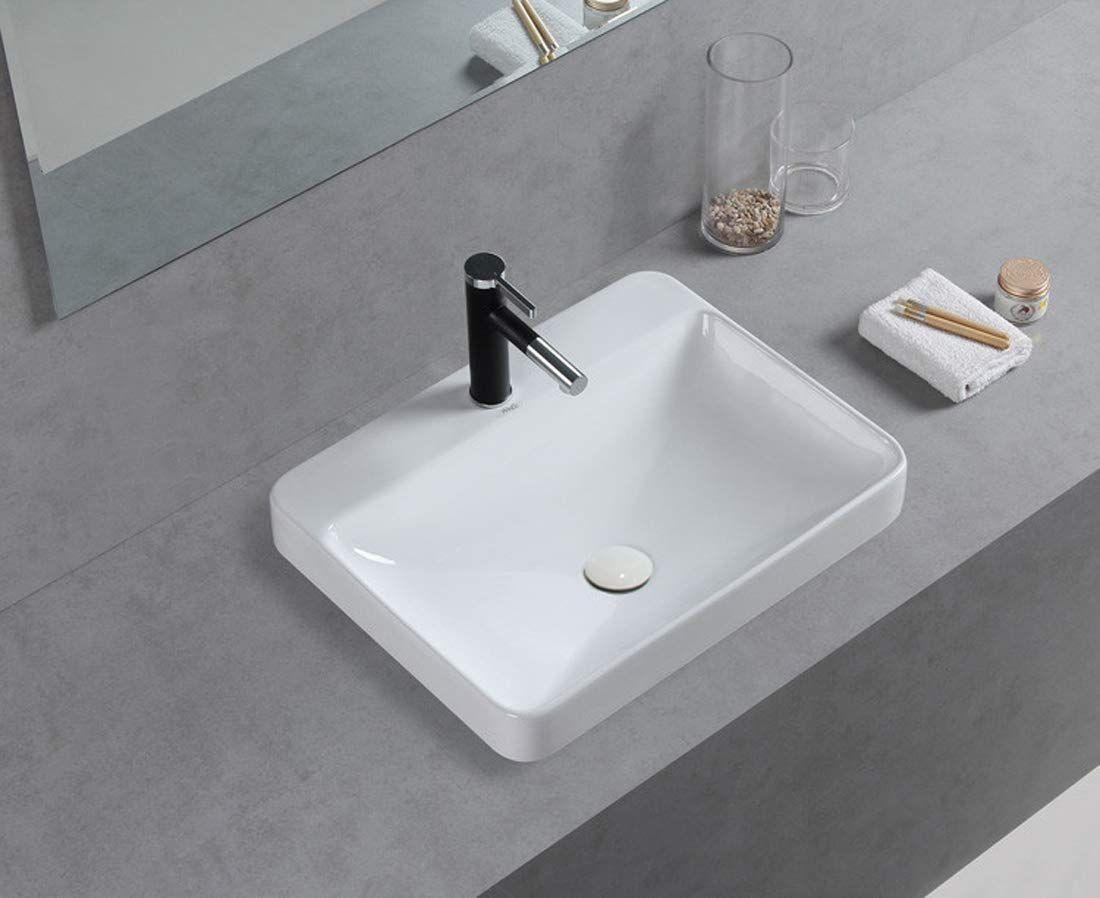 Winzo Wz6123 Rectangular Drop In Bathroom Sink Drop In Bathroom Sinks Sink Bathroom Sink
