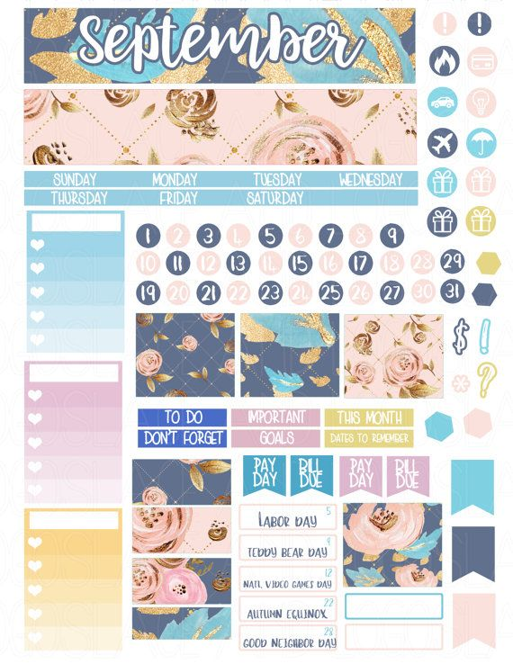 Printable Planner Stickers September Monthly View por LaceAndLogos