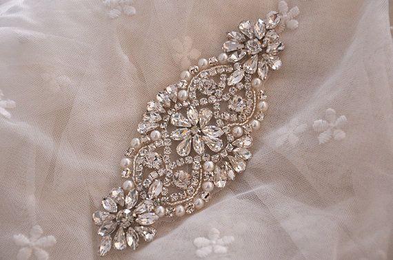 Pearl and rhinestone applique crystal bridal beaded applique