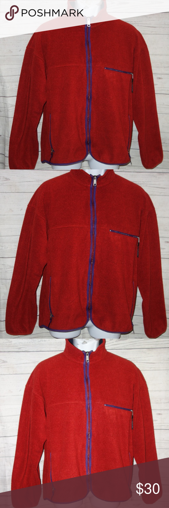 Vintage patagonia fleece jacket men l red zip patagonia fleece